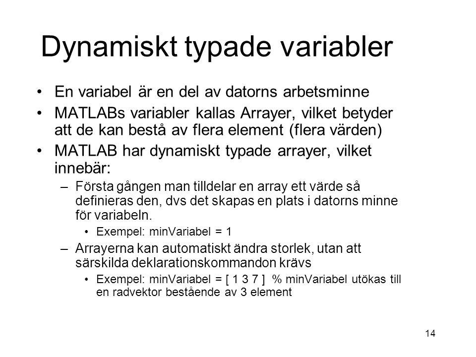 14 Dynamiskt typade variabler En variabel är en del av datorns arbetsminne MATLABs variabler kallas Arrayer, vilket betyder att de kan bestå av flera element (flera värden) MATLAB har dynamiskt typade arrayer, vilket innebär: –Första gången man tilldelar en array ett värde så definieras den, dvs det skapas en plats i datorns minne för variabeln.