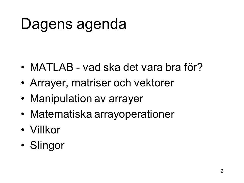 2 Dagens agenda MATLAB - vad ska det vara bra för.