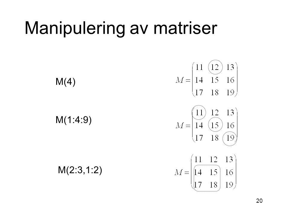 20 Manipulering av matriser M(4) M(1:4:9) M(2:3,1:2)