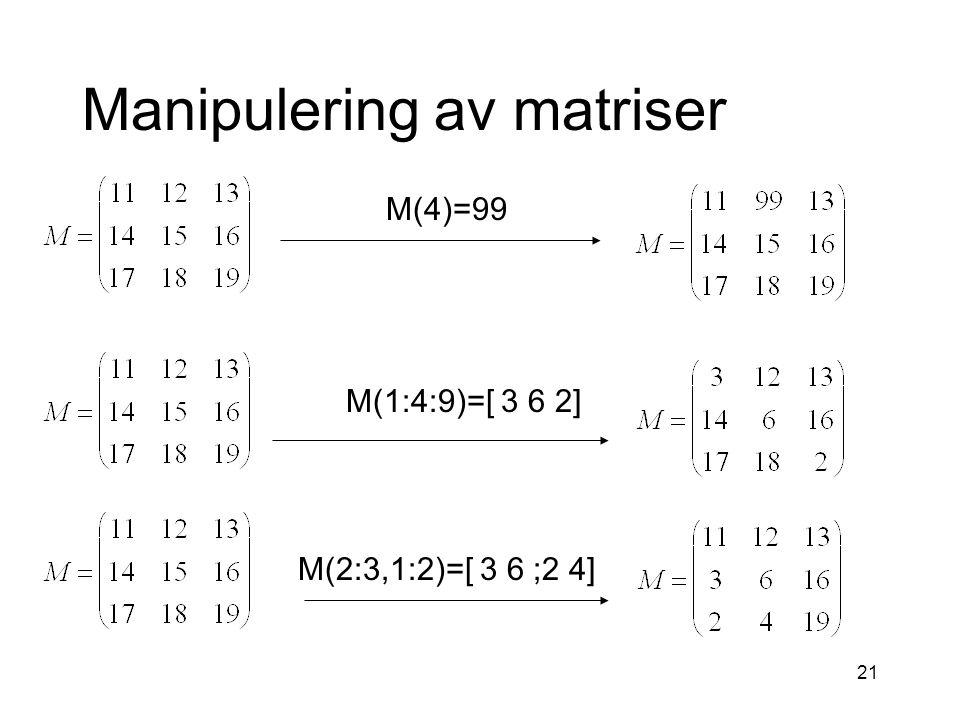 21 Manipulering av matriser M(4)=99 M(1:4:9)=[ 3 6 2] M(2:3,1:2)=[ 3 6 ;2 4]