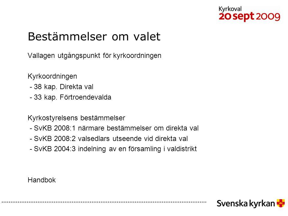 Efter sammanräkningen Protokollet görs klart och justeras Handlingar lämnas till valnämnden - anvisningar från valnämnden Valnämnden lämnar till stiftsstyrelsen - närmare anvisningar från stiftsstyrelsen Resultat från sammanräkningen rapporteras via internet www.svenskakyrkan.se/rr 38 kap.