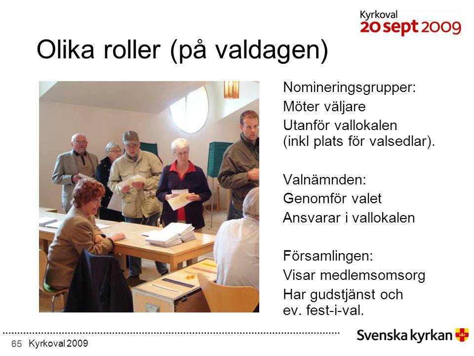 65 Kyrkoval 2009 Olika roller (på valdagen) Nomineringsgrupper: Möter väljare Utanför vallokalen (inkl plats för valsedlar).
