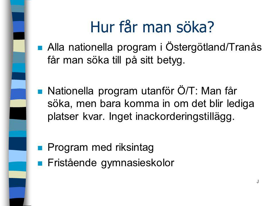 Hur får man söka? n Alla nationella program i Östergötland/Tranås får man söka till på sitt betyg. n Nationella program utanför Ö/T: Man får söka, men