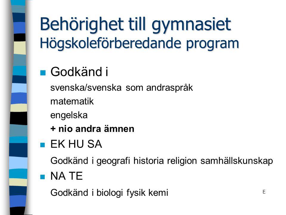 Behörighet till gymnasiet Högskoleförberedande program n Godkänd i svenska/svenska som andraspråk matematik engelska + nio andra ämnen n EK HU SA Godk