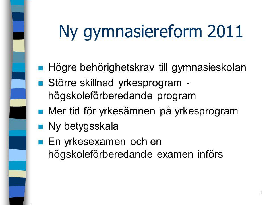 Ny gymnasiereform 2011 n Högre behörighetskrav till gymnasieskolan n Större skillnad yrkesprogram - högskoleförberedande program n Mer tid för yrkesäm