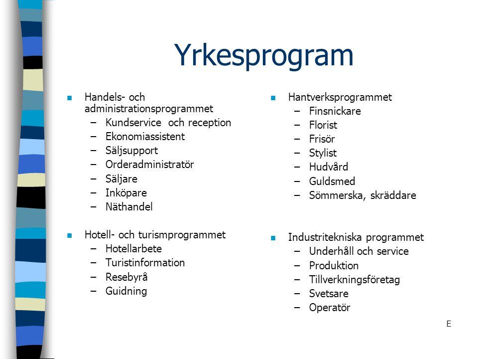 Yrkesprogram n Handels- och administrationsprogrammet –Kundservice och reception –Ekonomiassistent –Säljsupport –Orderadministratör –Säljare –Inköpare