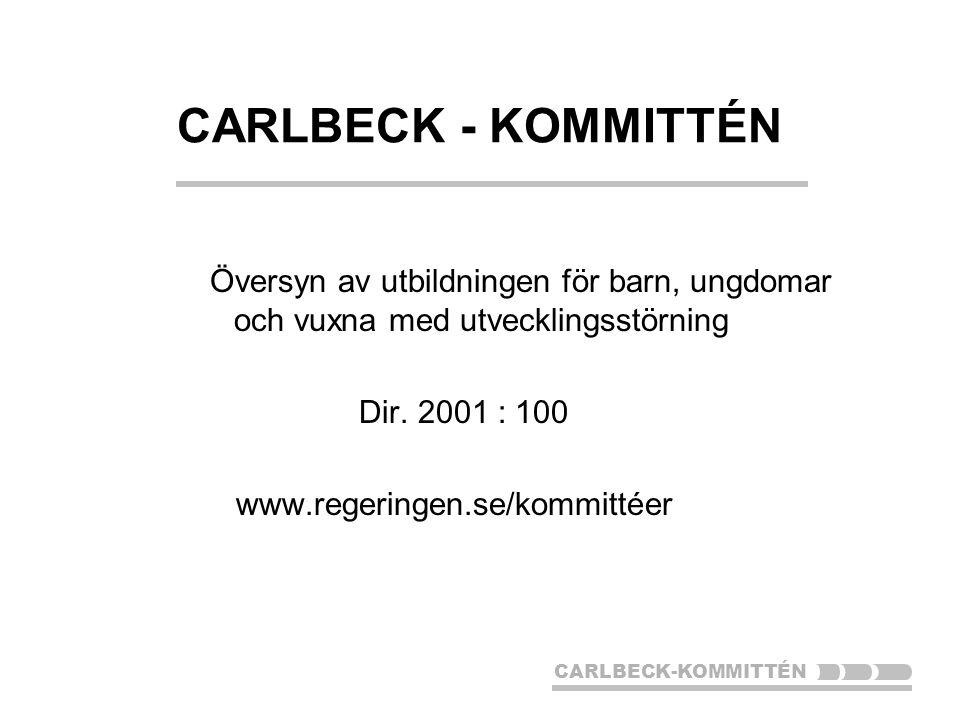 CARLBECK-KOMMITTÉN Översyn av utbildningen för barn, ungdomar och vuxna med utvecklingsstörning Dir.