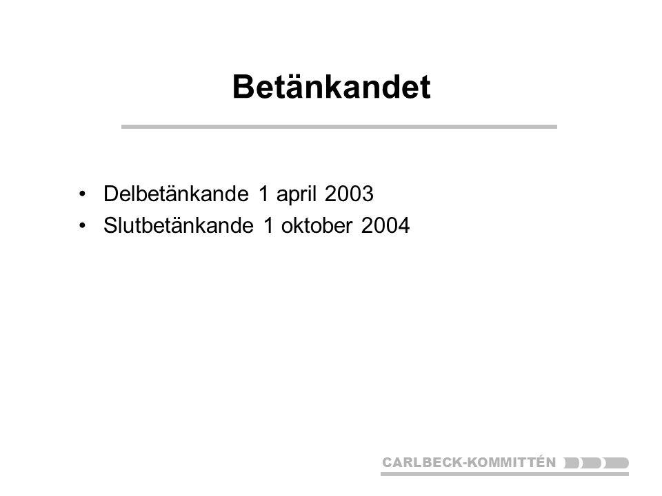CARLBECK-KOMMITTÉN Betänkandet Delbetänkande 1 april 2003 Slutbetänkande 1 oktober 2004