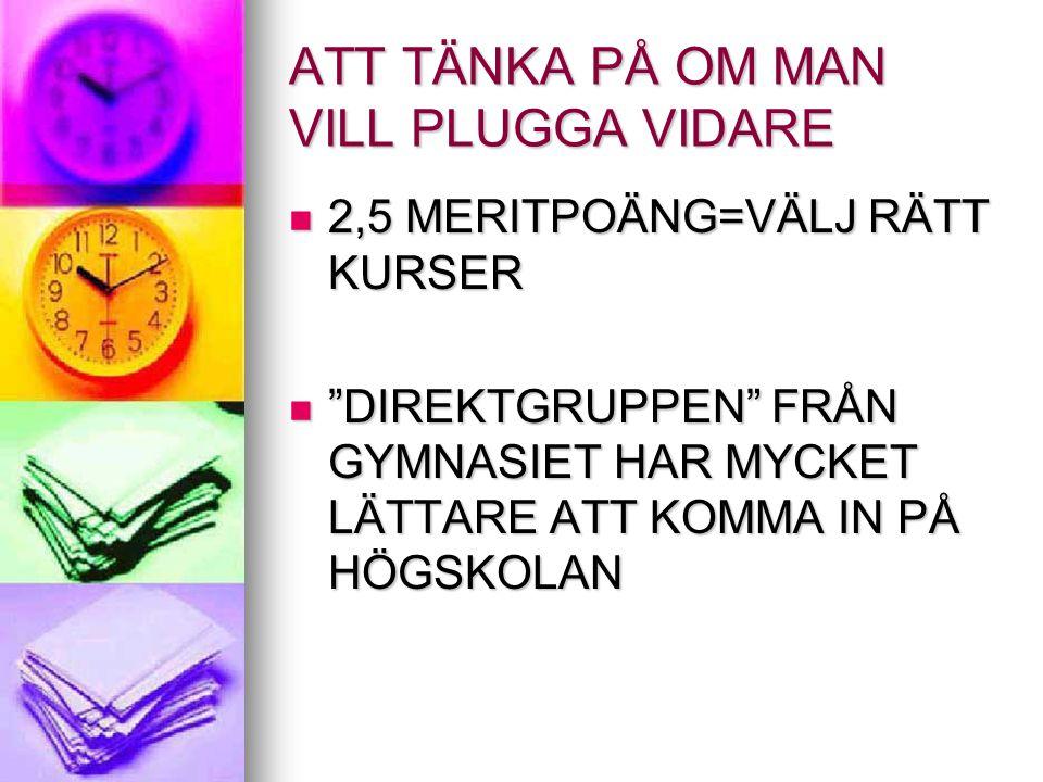 """ATT TÄNKA PÅ OM MAN VILL PLUGGA VIDARE 2,5 MERITPOÄNG=VÄLJ RÄTT KURSER 2,5 MERITPOÄNG=VÄLJ RÄTT KURSER """"DIREKTGRUPPEN"""" FRÅN GYMNASIET HAR MYCKET LÄTTA"""