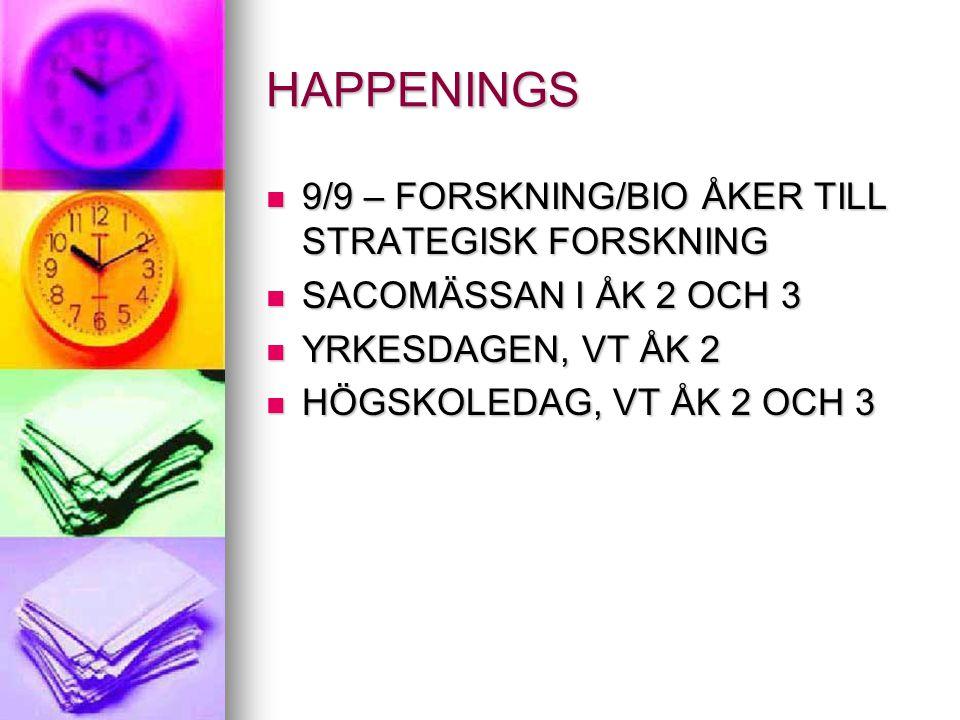 HAPPENINGS 9/9 – FORSKNING/BIO ÅKER TILL STRATEGISK FORSKNING 9/9 – FORSKNING/BIO ÅKER TILL STRATEGISK FORSKNING SACOMÄSSAN I ÅK 2 OCH 3 SACOMÄSSAN I