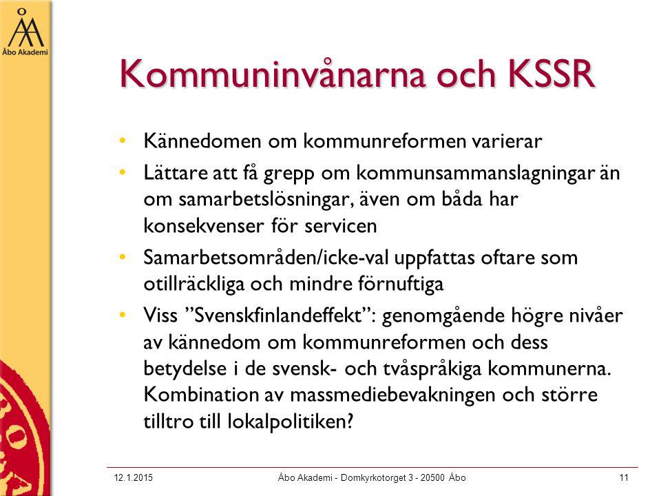 Kommuninvånarna och KSSR Kännedomen om kommunreformen varierar Lättare att få grepp om kommunsammanslagningar än om samarbetslösningar, även om båda har konsekvenser för servicen Samarbetsområden/icke-val uppfattas oftare som otillräckliga och mindre förnuftiga Viss Svenskfinlandeffekt : genomgående högre nivåer av kännedom om kommunreformen och dess betydelse i de svensk- och tvåspråkiga kommunerna.
