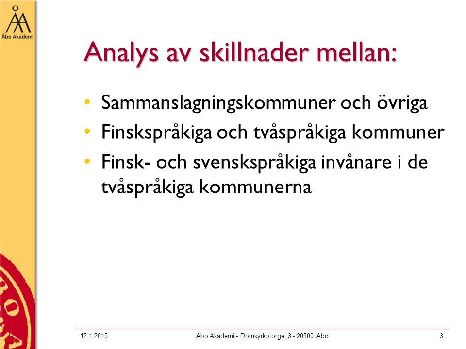 Analys av skillnader mellan: Sammanslagningskommuner och övriga Finskspråkiga och tvåspråkiga kommuner Finsk- och svenskspråkiga invånare i de tvåspråkiga kommunerna 12.1.2015Åbo Akademi - Domkyrkotorget 3 - 20500 Åbo3