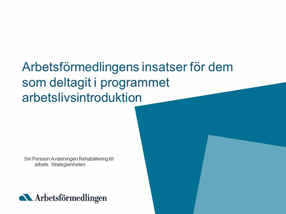 Arbetsförmedlingens insatser för dem som deltagit i programmet arbetslivsintroduktion Siri Persson Avdelningen Rehabilitering till arbete, Strategienh