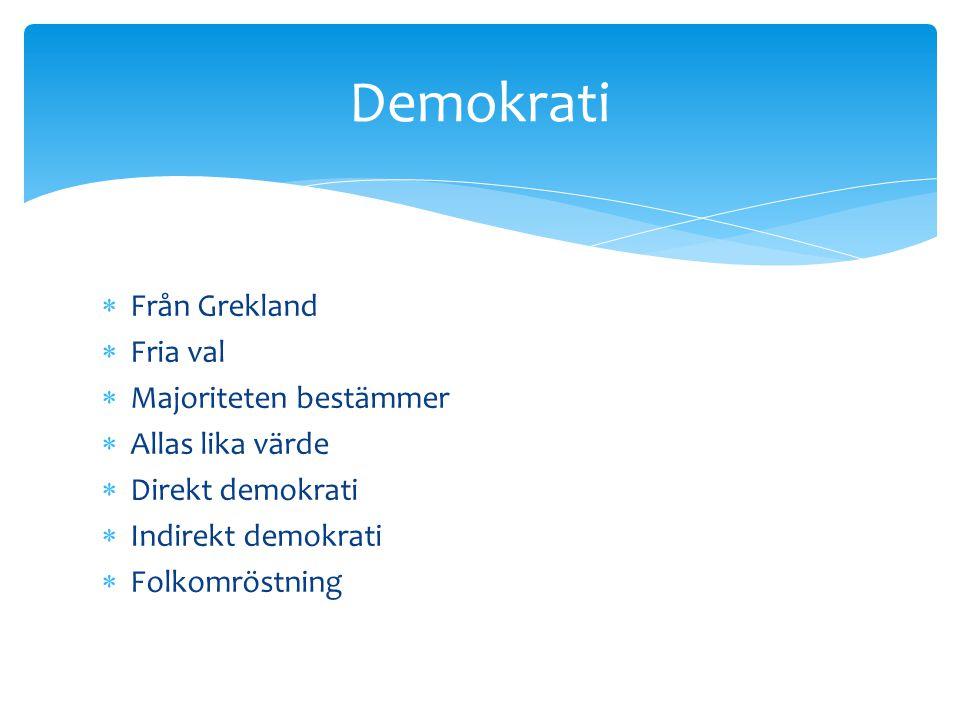  Från Grekland  Fria val  Majoriteten bestämmer  Allas lika värde  Direkt demokrati  Indirekt demokrati  Folkomröstning Demokrati