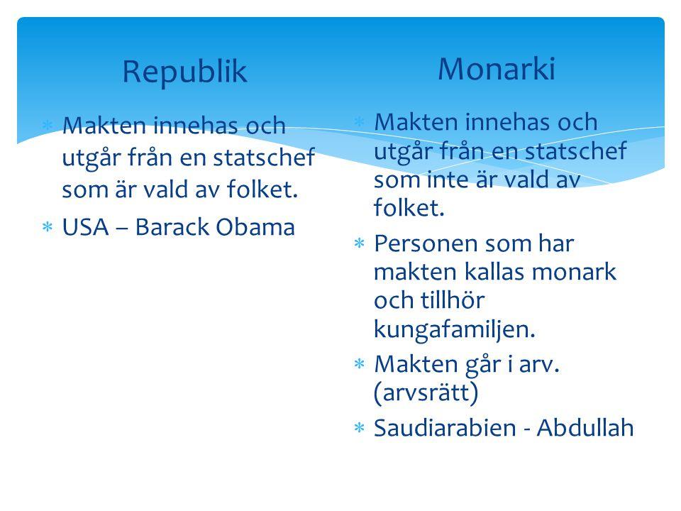 Republik  Makten innehas och utgår från en statschef som är vald av folket.  USA – Barack Obama Monarki  Makten innehas och utgår från en statschef