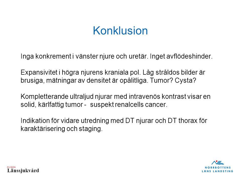 DIVISION Länssjukvård Konklusion Inga konkrement i vänster njure och uretär.