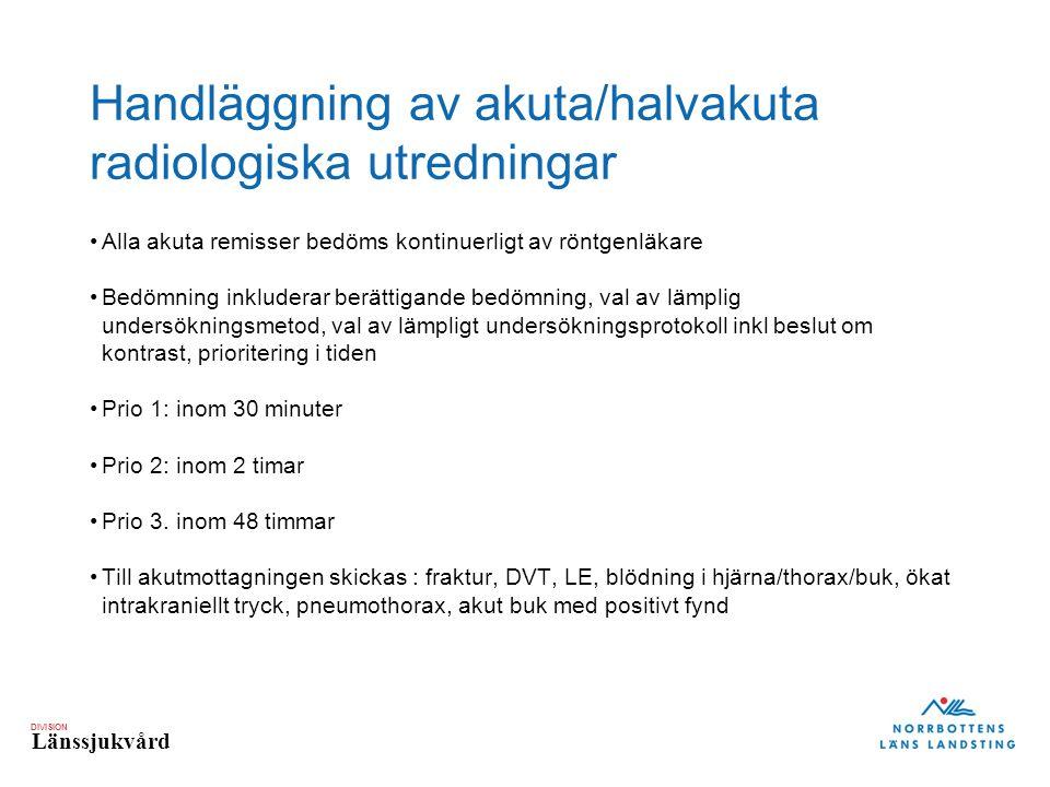 DIVISION Länssjukvård Handläggning av akuta/halvakuta radiologiska utredningar Alla akuta remisser bedöms kontinuerligt av röntgenläkare Bedömning inkluderar berättigande bedömning, val av lämplig undersökningsmetod, val av lämpligt undersökningsprotokoll inkl beslut om kontrast, prioritering i tiden Prio 1: inom 30 minuter Prio 2: inom 2 timar Prio 3.