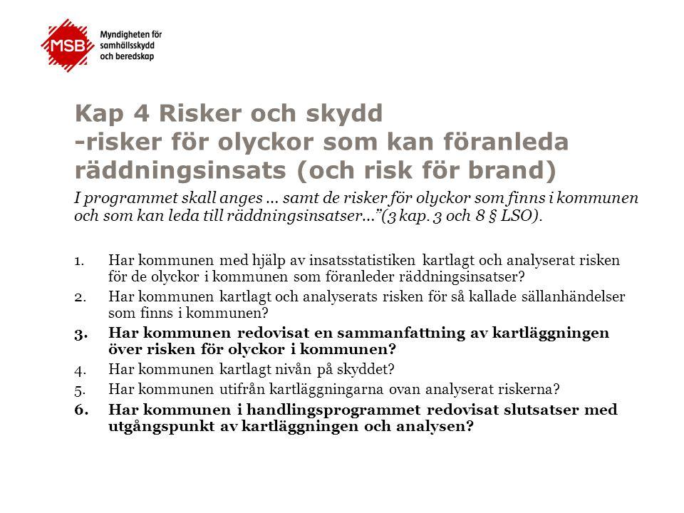 Kap 4 Risker och skydd -risker för olyckor som kan föranleda räddningsinsats (och risk för brand) I programmet skall anges … samt de risker för olycko
