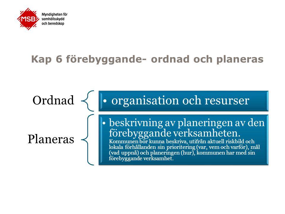 Kap 6 förebyggande- ordnad och planeras Ordnad organisation och resurser Planeras beskrivning av planeringen av den förebyggande verksamheten. Kommune