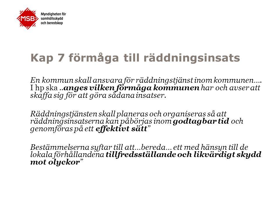 Kap 7 förmåga till räddningsinsats En kommun skall ansvara för räddningstjänst inom kommunen….