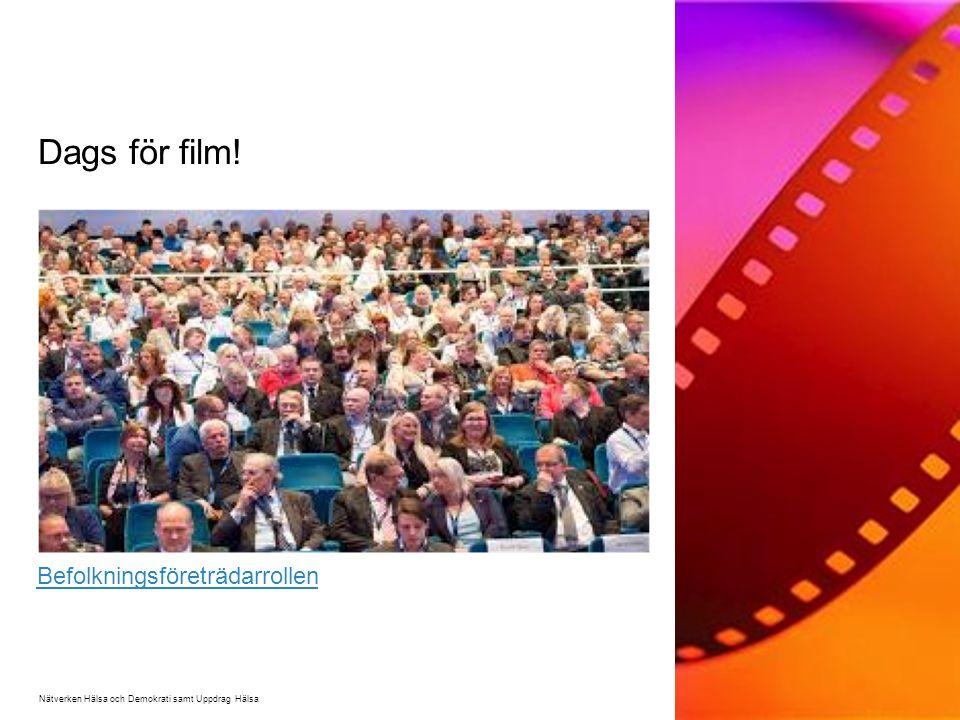 Dags för film! Nätverken Hälsa och Demokrati samt Uppdrag Hälsa Befolkningsföreträdarrollen
