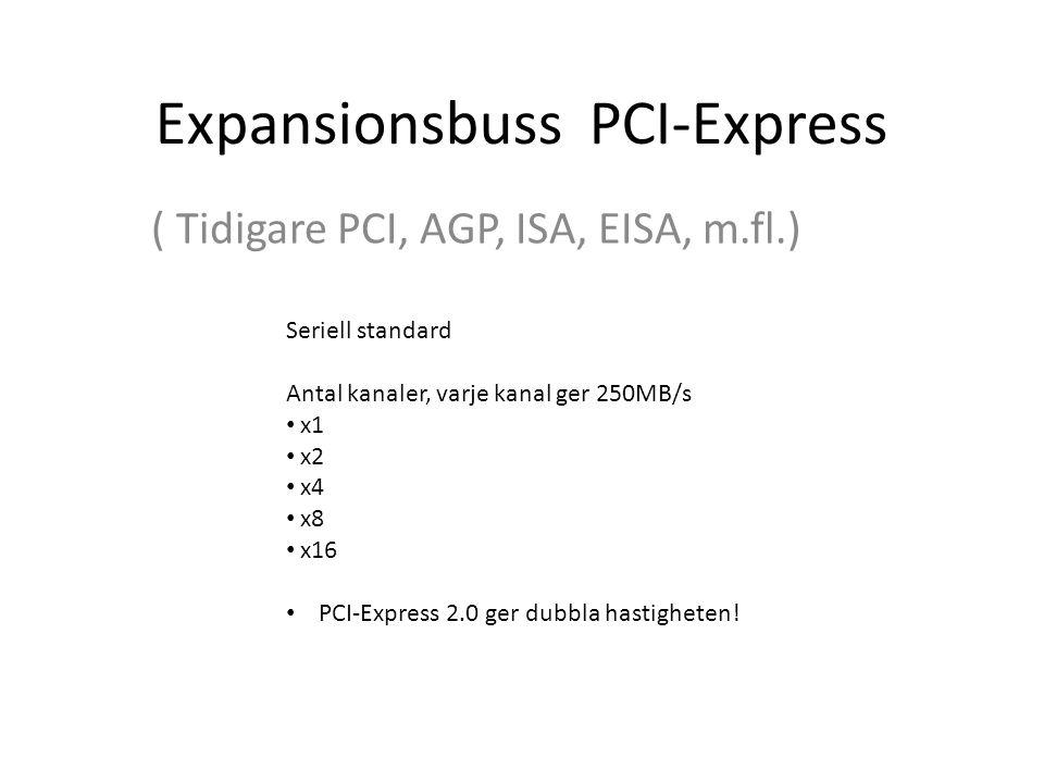 Expansionsbuss PCI-Express ( Tidigare PCI, AGP, ISA, EISA, m.fl.) Seriell standard Antal kanaler, varje kanal ger 250MB/s x1 x2 x4 x8 x16 PCI-Express