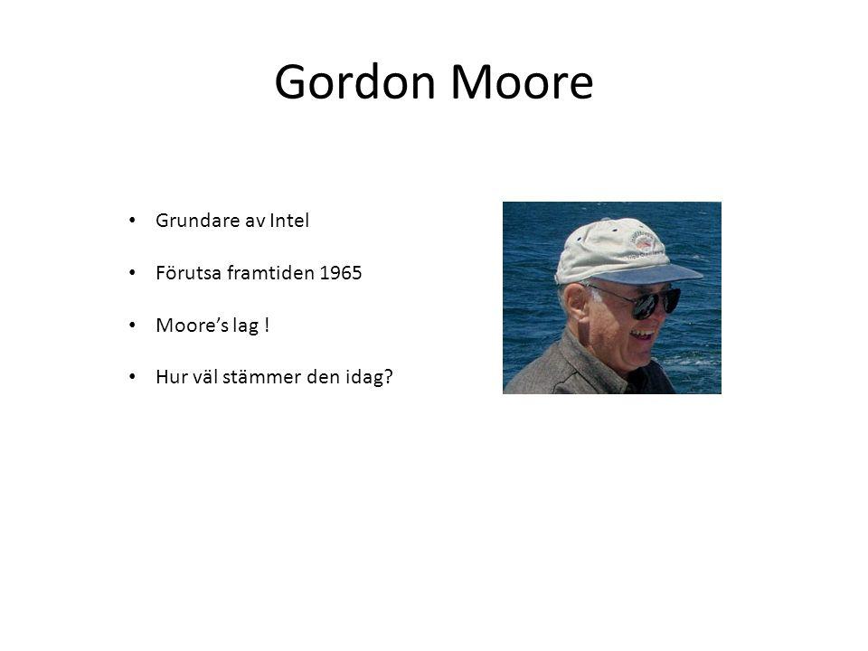 Gordon Moore Grundare av Intel Förutsa framtiden 1965 Moore's lag ! Hur väl stämmer den idag?