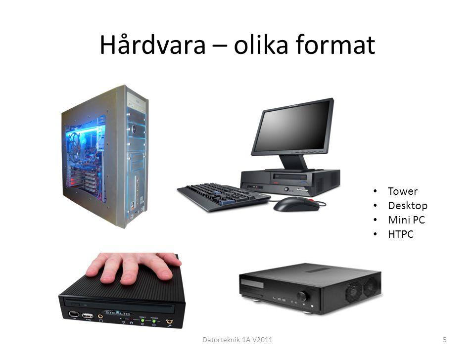 Hårdvara – olika format Datorteknik 1A V20115 Tower Desktop Mini PC HTPC