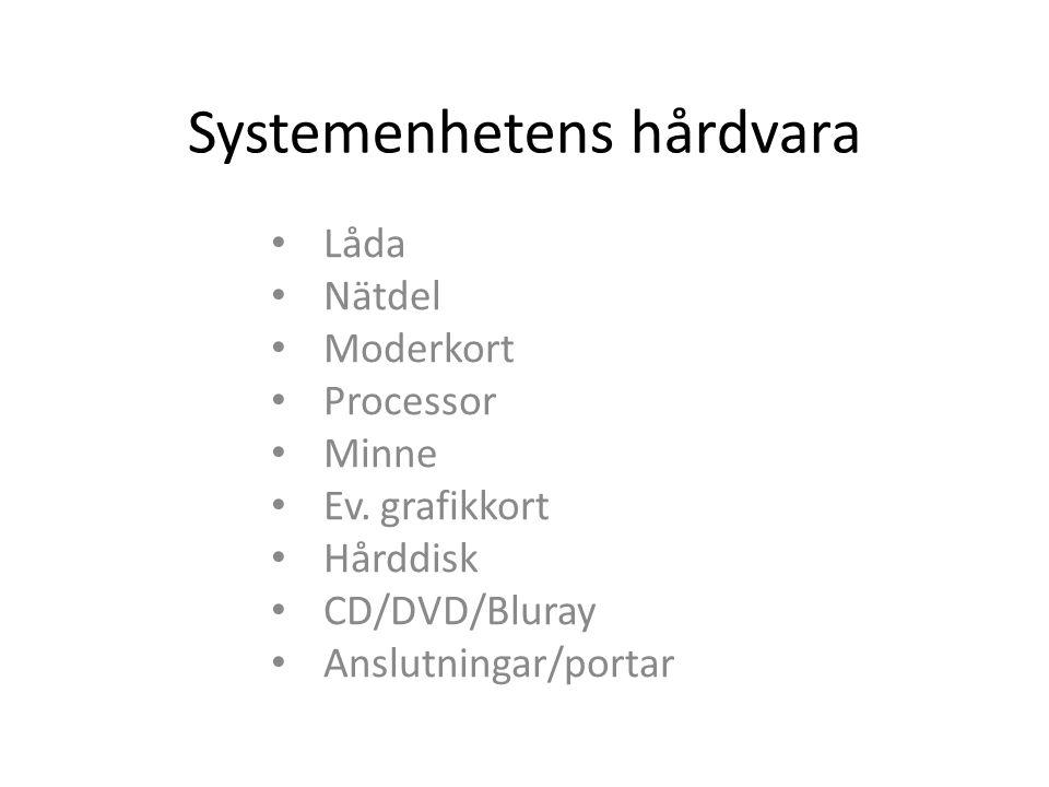 Systemenhetens hårdvara Låda Nätdel Moderkort Processor Minne Ev. grafikkort Hårddisk CD/DVD/Bluray Anslutningar/portar