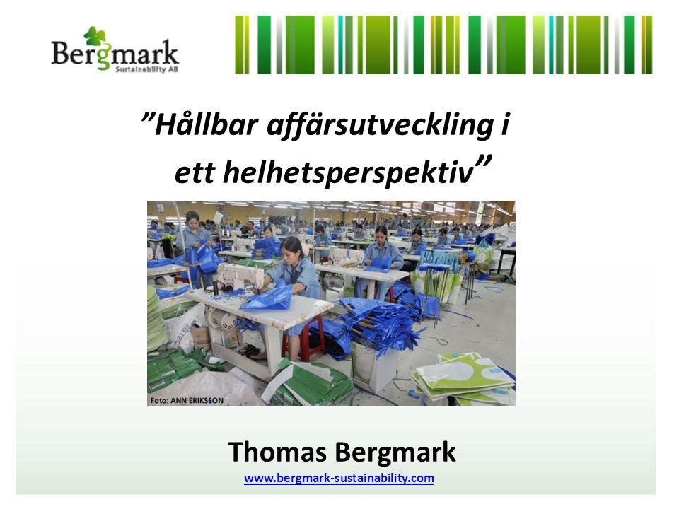 Hållbar affärsutveckling i ett helhetsperspektiv PurNet 24 maj 2011 Thomas Bergmark www.bergmark-sustainability.com
