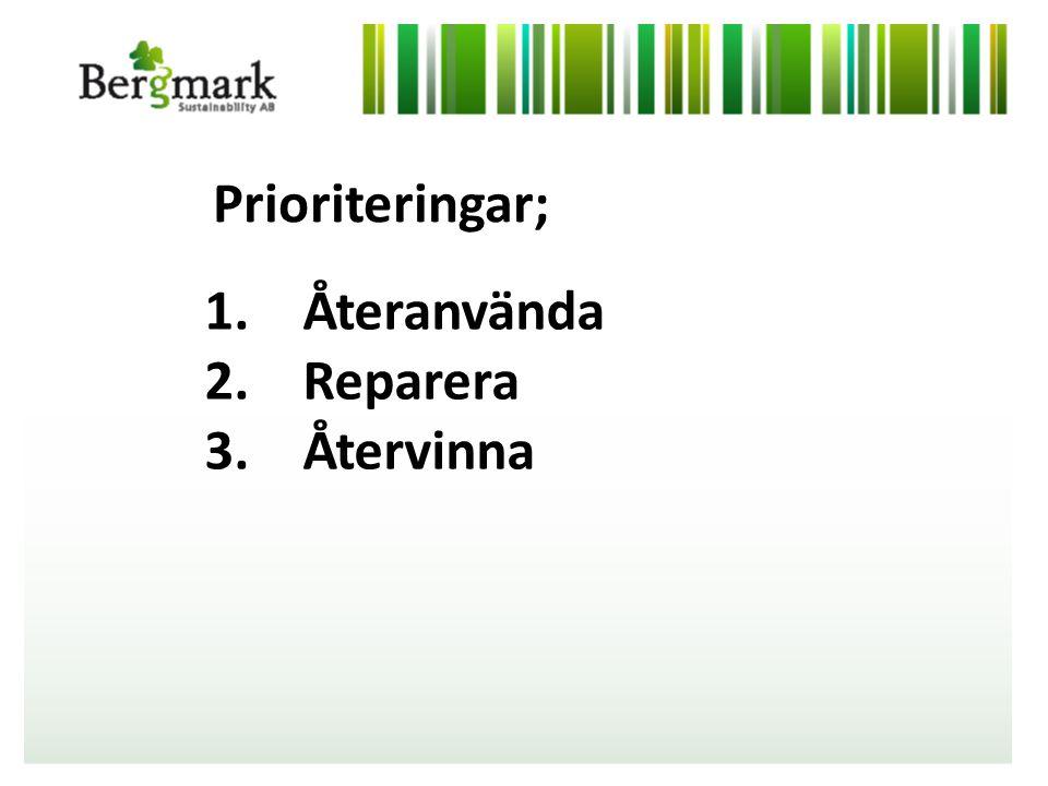 1. Återanvända 2. Reparera 3. Återvinna Prioriteringar;