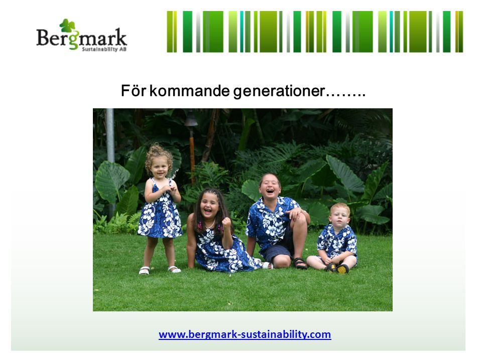 För kommande generationer…….. www.bergmark-sustainability.com