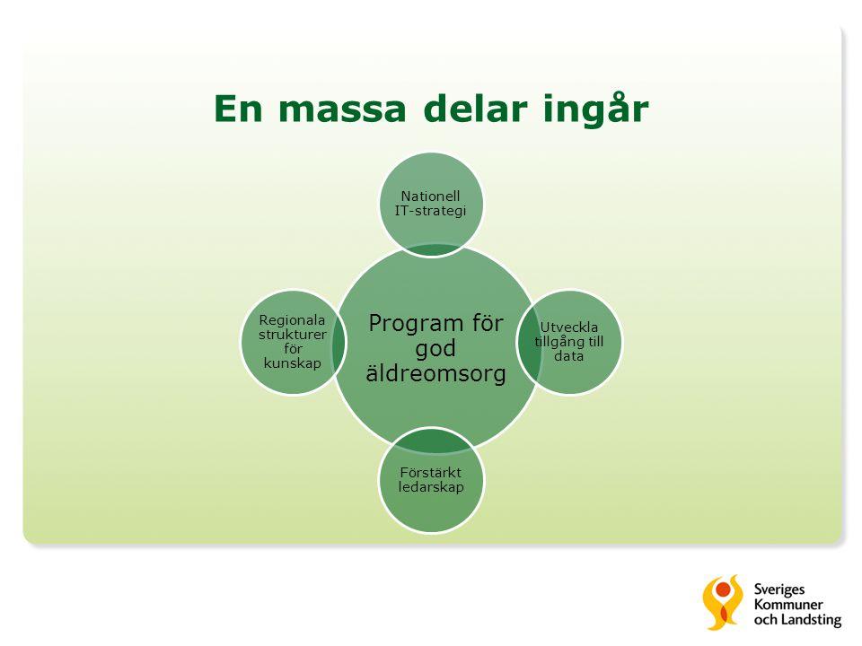 En massa delar ingår Program för god äldreomsorg Nationell IT-strategi Utveckla tillgång till data Förstärkt ledarskap Regionala strukturer för kunskap