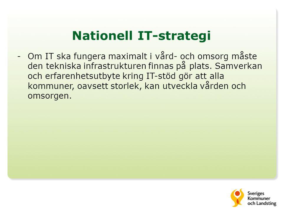 Nationell IT-strategi -Om IT ska fungera maximalt i vård- och omsorg måste den tekniska infrastrukturen finnas på plats.