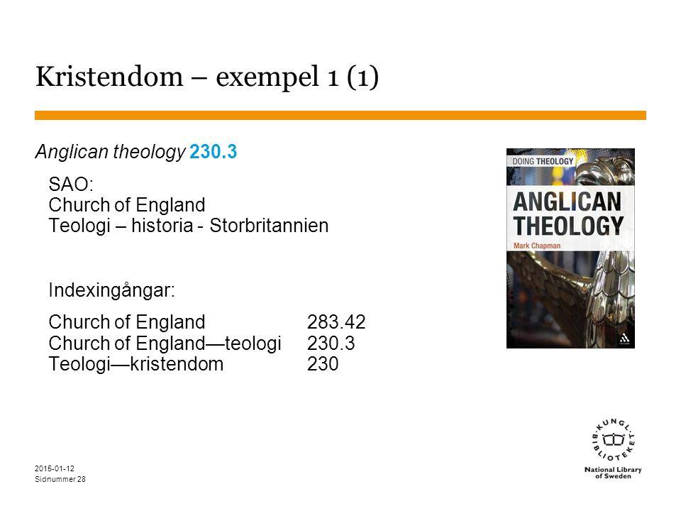 Sidnummer 2015-01-12 28 Kristendom – exempel 1 (1) Anglican theology 230.3 SAO: Church of England Teologi – historia - Storbritannien Indexingångar: Church of England283.42 Church of England—teologi 230.3 Teologi—kristendom230