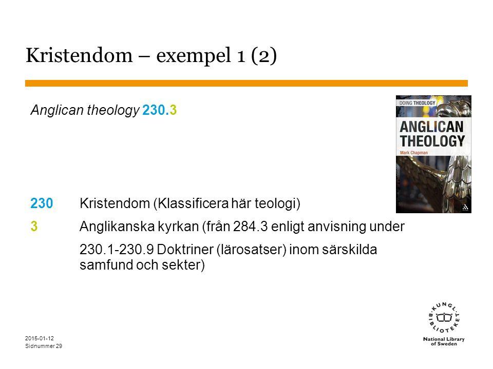 Sidnummer 2015-01-12 29 Kristendom – exempel 1 (2) Anglican theology 230.3 230Kristendom (Klassificera här teologi) 3Anglikanska kyrkan (från 284.3 enligt anvisning under 230.1-230.9 Doktriner (lärosatser) inom särskilda samfund och sekter)