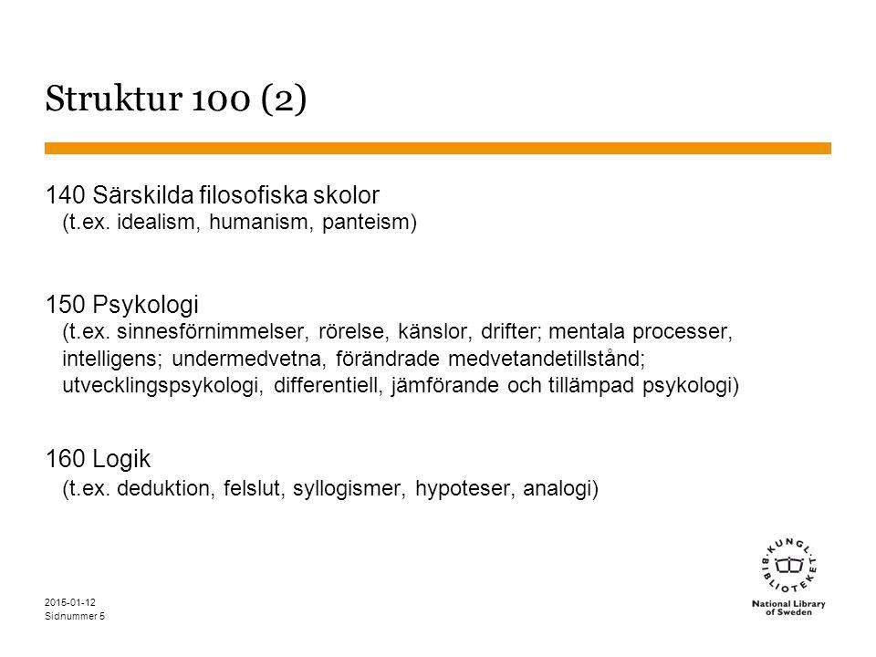 Sidnummer 2015-01-12 5 Struktur 100 (2) 140 Särskilda filosofiska skolor (t.ex.