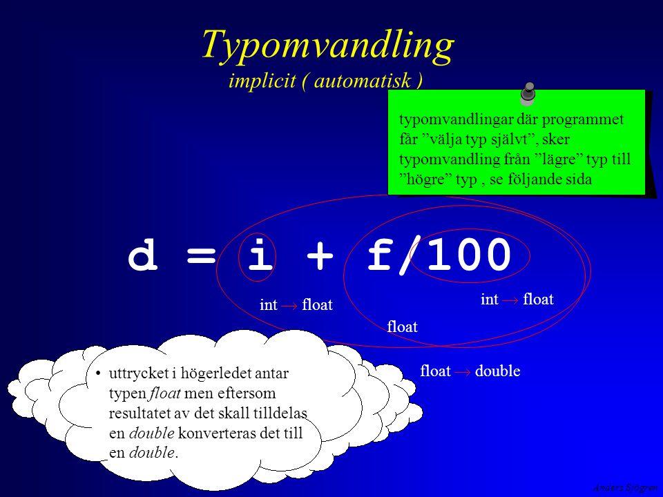 Anders Sjögren Typomvandling implicit ( automatisk ) d = i + f/100 int  float float  double uttrycket i högerledet antar typen float men eftersom re
