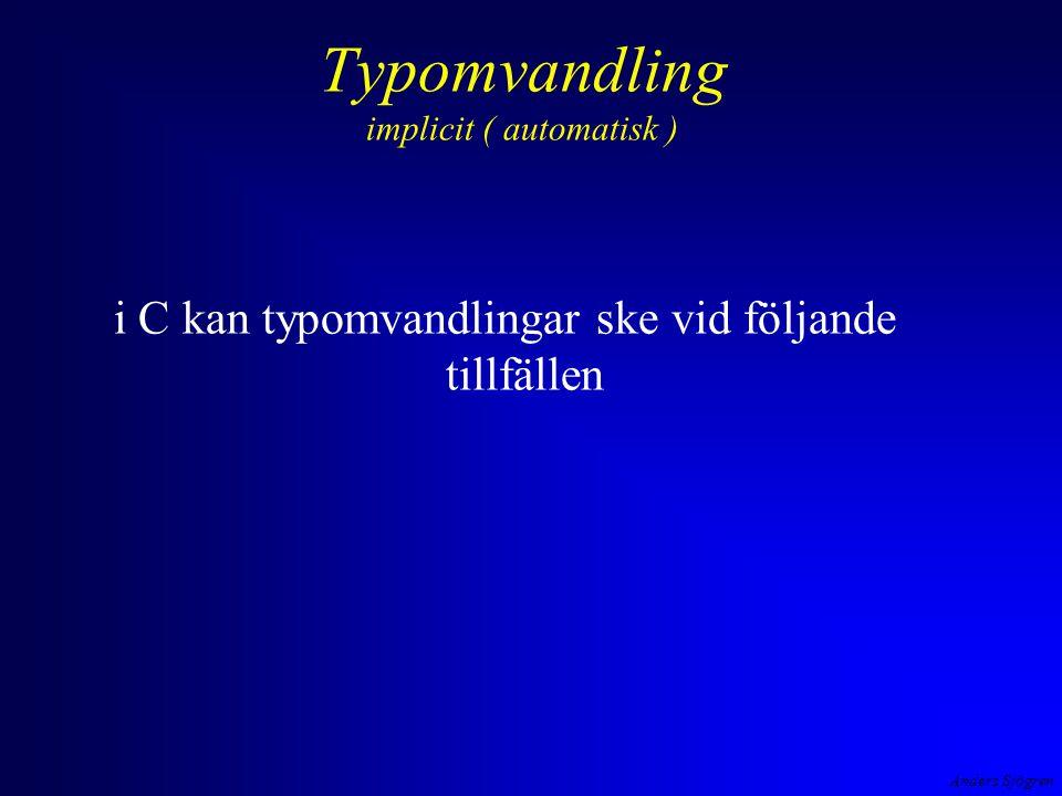 Anders Sjögren Typomvandling implicit ( automatisk ) i C kan typomvandlingar ske vid följande tillfällen