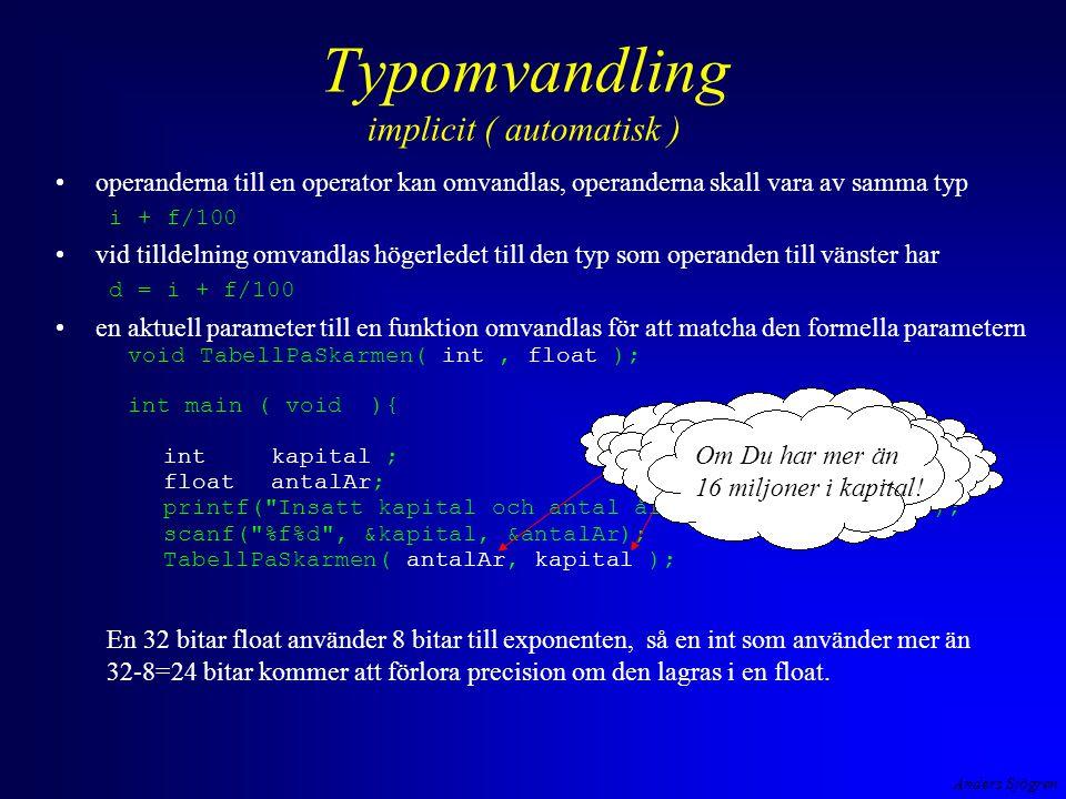 Anders Sjögren Typomvandling implicit ( automatisk ) operanderna till en operator kan omvandlas, operanderna skall vara av samma typ i + f/100 vid til