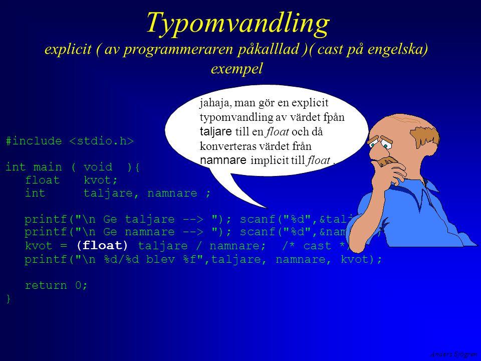 Anders Sjögren Typomvandling explicit ( av programmeraren påkalllad )( cast på engelska) exempel #include int main ( void ){ floatkvot; inttaljare, na