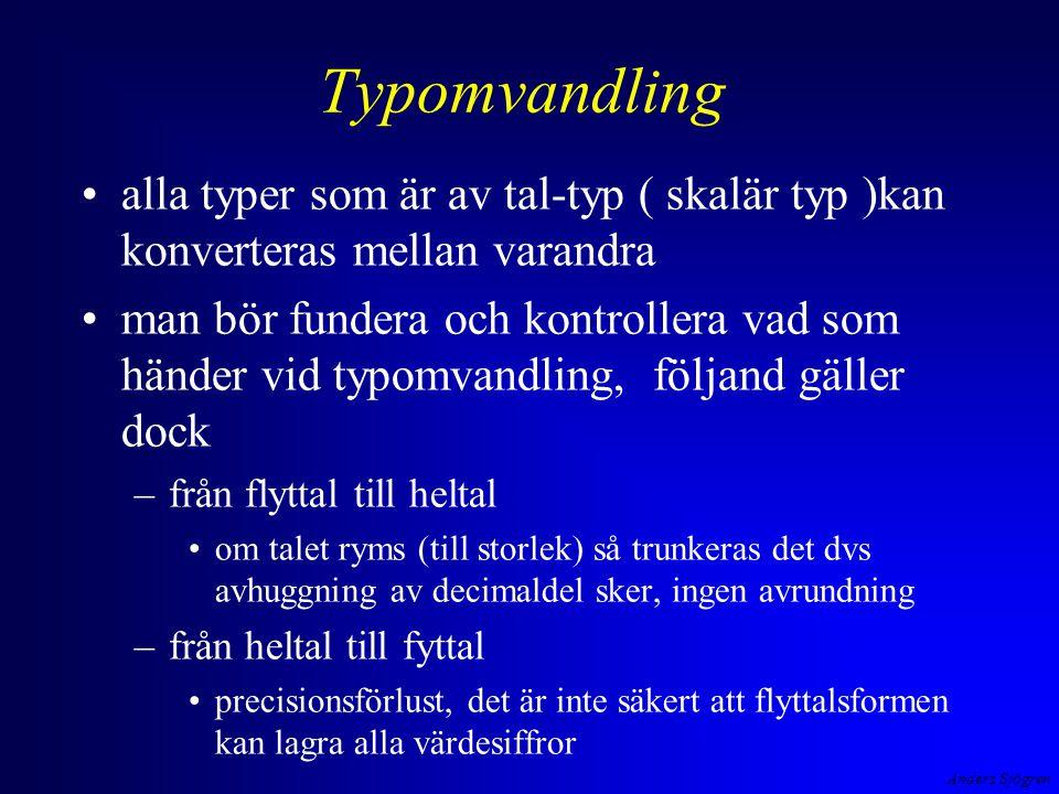 Anders Sjögren Typomvandling alla typer som är av tal-typ ( skalär typ )kan konverteras mellan varandra man bör fundera och kontrollera vad som händer