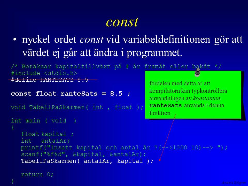 Anders Sjögren const nyckel ordet const vid variabeldefinitionen gör att värdet ej går att ändra i programmet. /* Beräknar kapitaltillväxt på # år fra