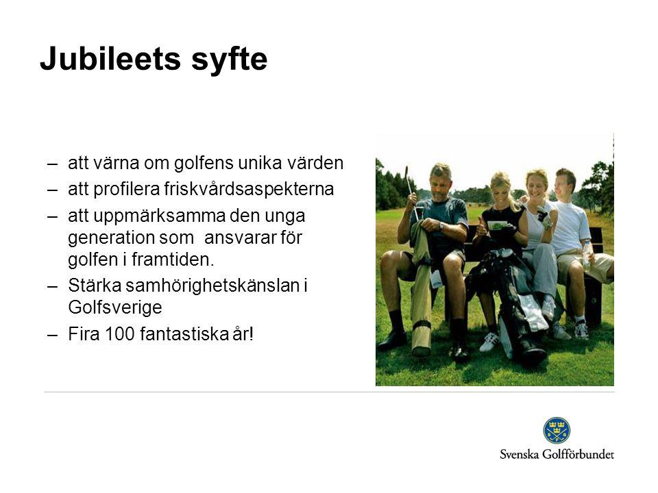 Jubileets syfte –att värna om golfens unika värden –att profilera friskvårdsaspekterna –att uppmärksamma den unga generation som ansvarar för golfen i framtiden.