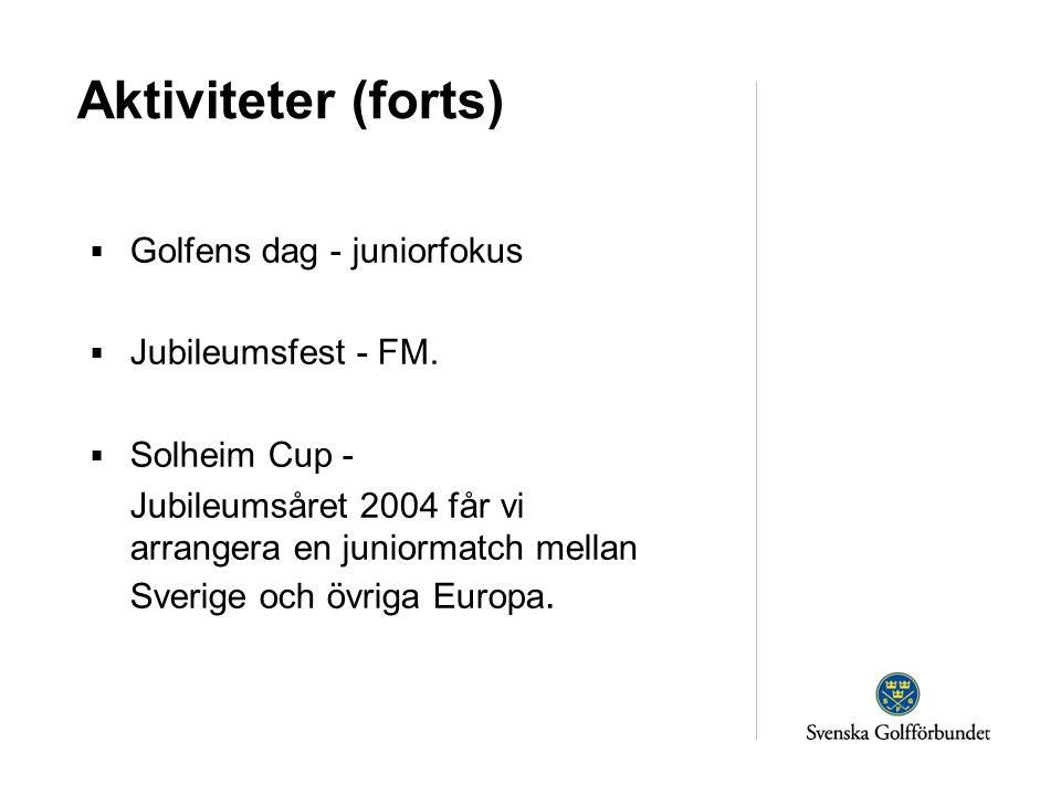 Aktiviteter (forts)  Golfens dag - juniorfokus  Jubileumsfest - FM.  Solheim Cup - Jubileumsåret 2004 får vi arrangera en juniormatch mellan Sverig