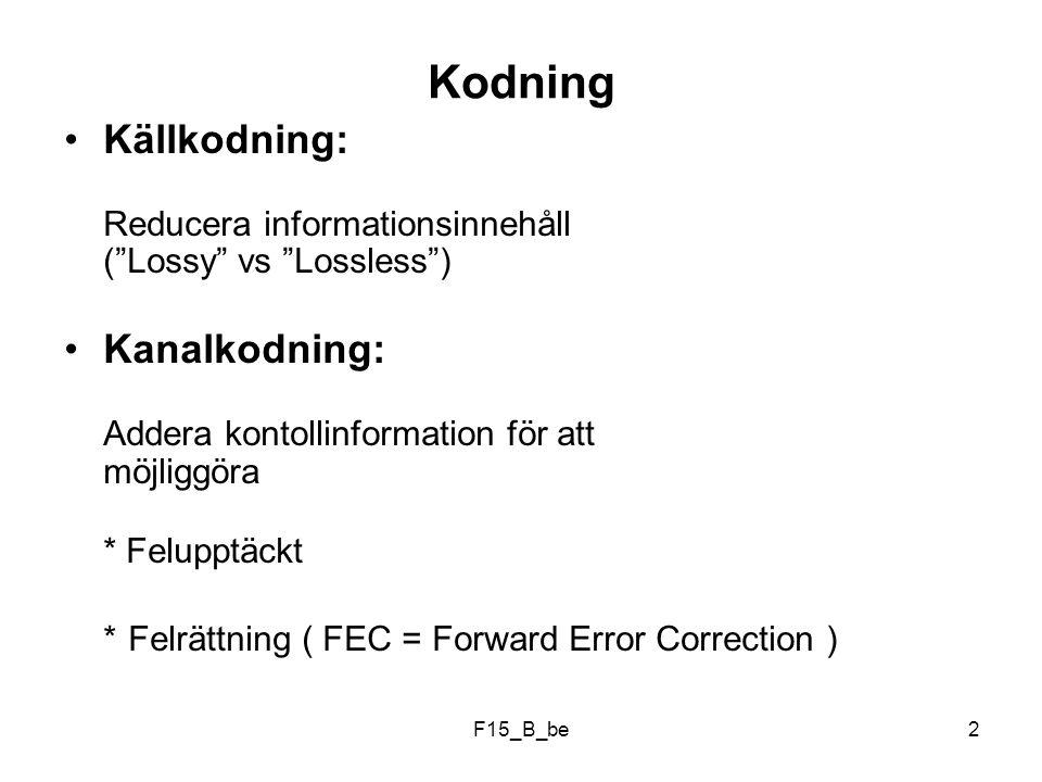 F15_B_be23 0000000 0101011 1010101 1111110 (4x2) (2x5) (4x5) Generering av redundanta bitar kan automatiseras:
