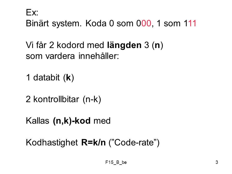 F15_B_be14 Kanalkodning Inför redundans, (n-k) bitar, för att om möjligt kunna upptäcka och ev rätta fel uppkomna pga störningar Kanal Störningar Kanal- kodare Modu- lator De-Modu- lator Kanal- avkodare k bitar n bitar n bitar k bitar n > k