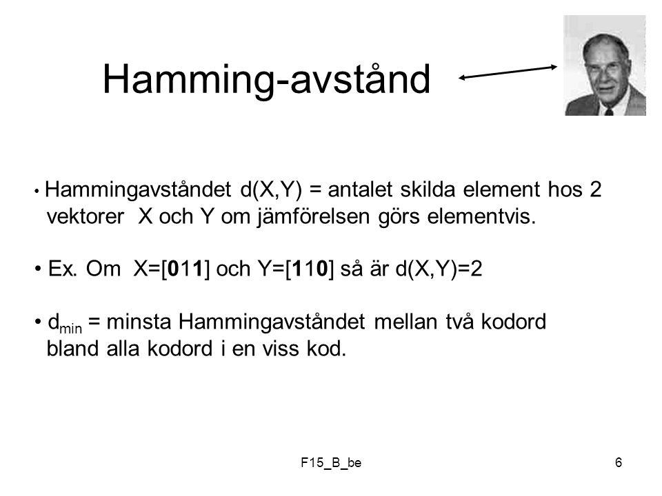 F15_B_be7 Om ett bitfel uppstått i ett visst ord är Hammingavståndet mellan det felaktiga och det korrekta ordet = 1.
