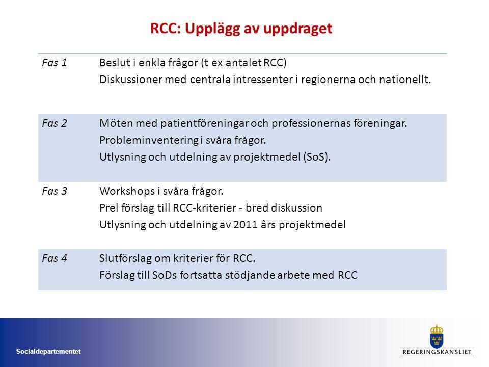 Socialdepartementet Fas 1 Beslut i enkla frågor (t ex antalet RCC) Diskussioner med centrala intressenter i regionerna och nationellt.