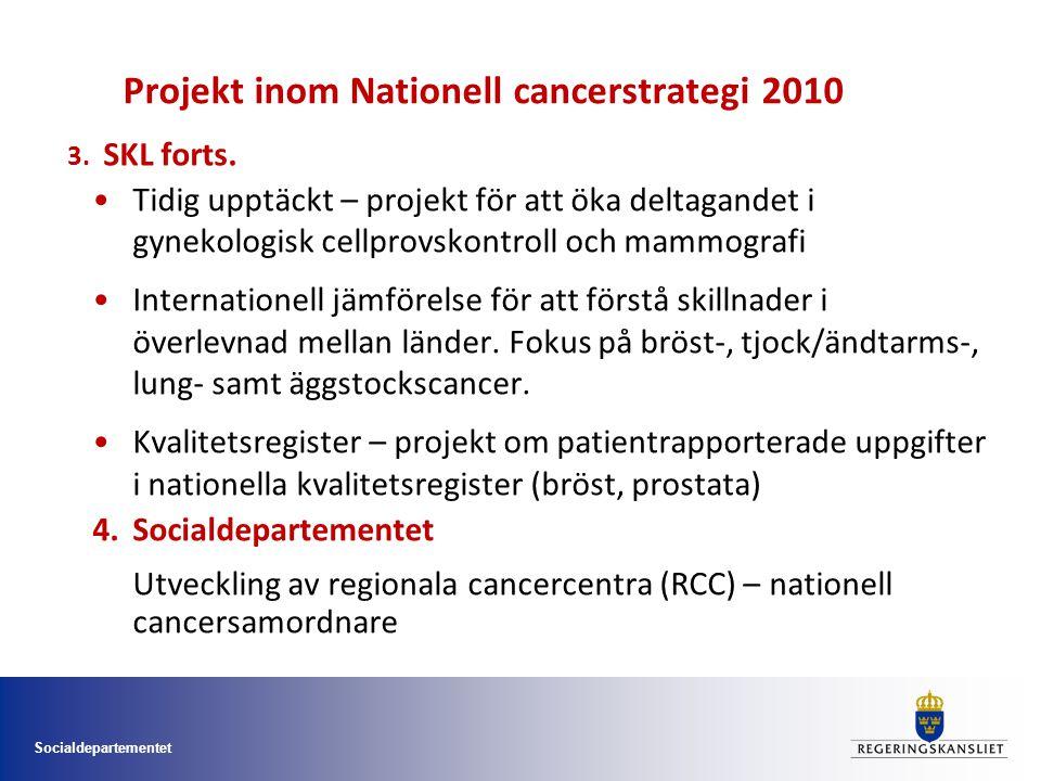 Socialdepartementet Projekt inom Nationell cancerstrategi 2010 Tidig upptäckt – projekt för att öka deltagandet i gynekologisk cellprovskontroll och mammografi Internationell jämförelse för att förstå skillnader i överlevnad mellan länder.